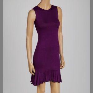 FLIRTY PINK Plum Ruffle Hem Shift Dress M
